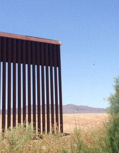 Gap in the border wall at El Porvenir, Chihuahua, Mexico and Fort Hancock, Texas.