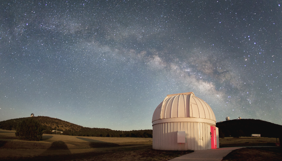 The Milky Way shines above the dome of the Chow Telescope at McDonald Observatory. (Frank Cianciolo, McDonald Observatory)
