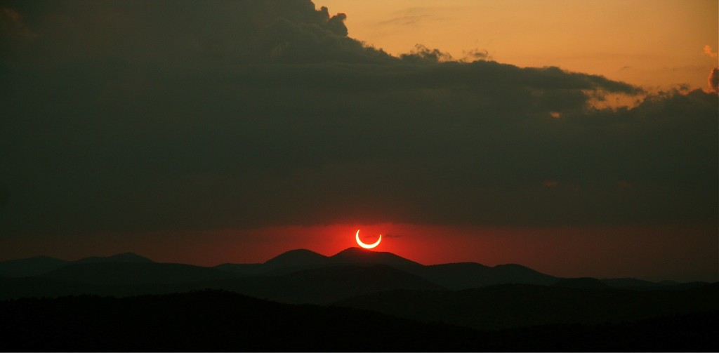 A partial solar eclipse in 2012 seen from the McDonald Observatory near Ft. Davis, Texas (Rachel Walker)