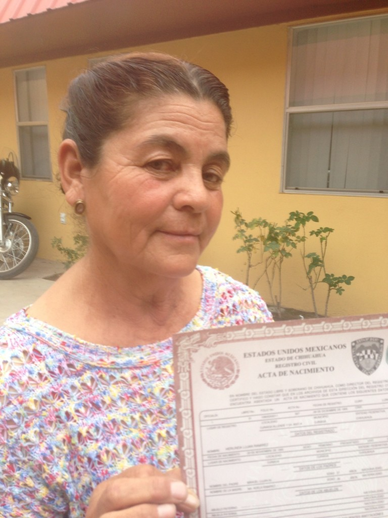 Herlinda Lujan with her Mexican birth certificate at the Mexico Consulate at Presidio, Texas. In a major policy shift, Mexican consulates are issuing birth certificates to its citizens living in the United States regardless of their U.S. immigration status.