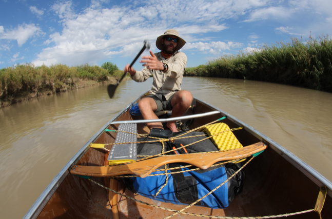 Colin McDonald on the Rio Grande, called Rio Bravo del Norte in Mexico. He's on a journey from the river's headwaters in Colorado to the Gulf of Mexico. (Lorne Matalon)