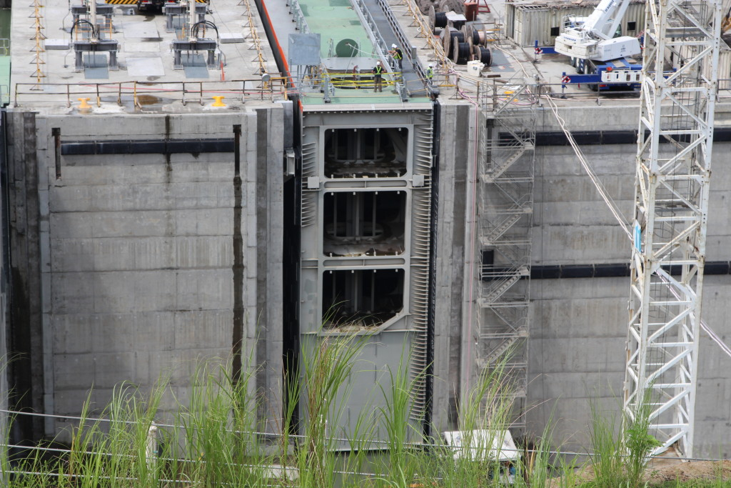 This is one of 16 gates the Panama Canal will operate to accommodate post-Panamax vessels. The height of the tallest gate is approximately 11 stories high. (Lorne Matalon)